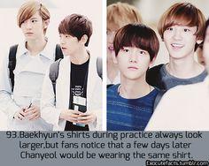 [EXO facts] <-- Pffft no it's because Baekhyun always wears/uses other members' stuff. Exo Chanbaek, Chanyeol Baekhyun, Exo Ot12, Exo Facts, Funny Facts, Xiuchen, Exo Memes, Kpop Exo, Vixx