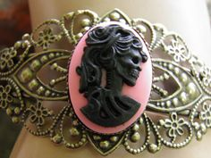 Hand Crafted Day of the Dead Antiqued Bronze Filigree Bracelet Black and Pink Gothic Lolita Skeleton by MelancholyMind on Etsy