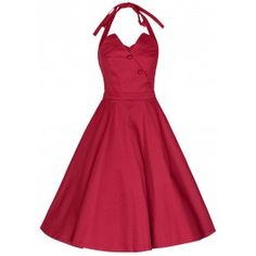 LINDY BOP 'MYRTLE' CLASSY VINTAGE 1950's HALTER NECK FLARED SWING PARTY DRESS - Available In Red & Green
