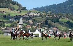 Gstaad - a great polo venue in the Swiss Alps. Home to the annual Hublot Polo Gold cup. Polo Grounds, Golden Days, Gold Cup, Swiss Alps, Star Designs, Fields, Dolores Park, Around The Worlds, Wheels