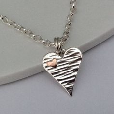 Heart necklace sterling silver handmade by BlueRockJewellery