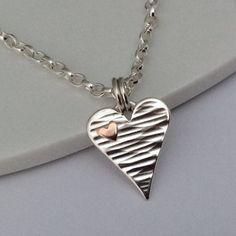Handmade sterling silver copper heart by BlueRockJewellery on Etsy
