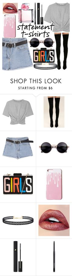 """""""statement t-shirt"""" by kendall-ahs ❤ liked on Polyvore featuring T By Alexander Wang, Cape Robbin, LULUS, Lancôme, MAC Cosmetics and Ralph Lauren"""