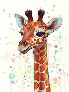 Baby Giraffe Watercolor Painting by OlechkaDesign