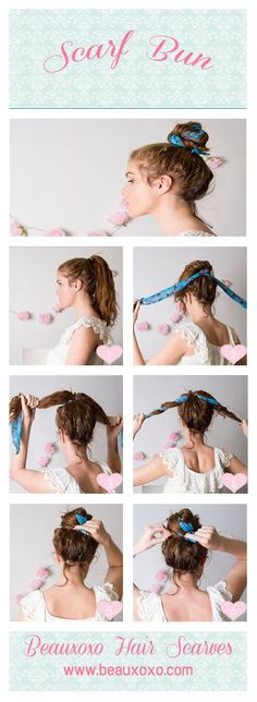 Scarf bun tutorial                                                                                                                                                      More