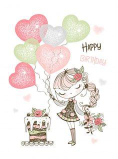 Birthday card with cute girl with cake a... | Premium Vector #Freepik #vector #birthday #happy-birthday #heart #cake Happy Birthday Hearts, Birthday Wishes For Kids, Happy Birthday Wishes Cards, Happy Birthday Flower, Happy Birthday Girls, Happy Birthday Pictures, Happy Birthday Quotes, Birthday Photos, Birthday Cards