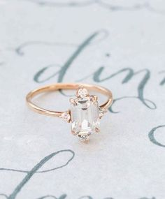 Emerald Cut Engagement Ring in Rose Gold   Camille Catherine Photography   http://heyweddinglady.com/metallic-bohemian-wedding-ideas-coral-copper/