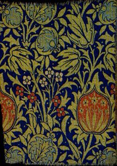 "Elmcote, a woven wool and mohair textile designed by William Morris or John Henry Dearle, ca.1900. Manufactured by Morris & Co,  67.5 x 50 cm (27 x 20"")"