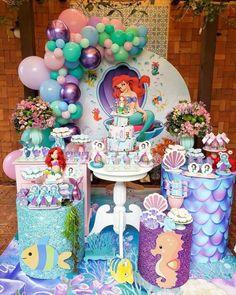 Mermaid Birthday Party Decorations Diy, Mermaid Theme Birthday, Kids Birthday Themes, Mermaid Parties, Diy Party Decorations, Disney Princess Birthday Party, Mermaid Cartoon, Mermaid Birthday, Panda Birthday Party
