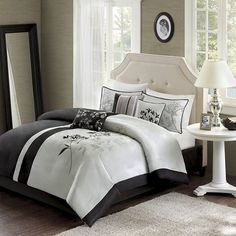 Add a touch of classic style to your bedroom with the exquisite Madison Park Kendall Reversible Comforter Set. The lovely bedding is beautifully dressed in an intricate leaf motif on a black and grey pieced ground. Grey Comforter, Comforter Sets, Contemporary Fabric, Basement Bedrooms, Bedding Shop, Decorative Pillows, Comforters, Bedroom Decor, Master Bedroom