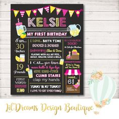 A personal favorite from my Etsy shop https://www.etsy.com/ca/listing/529389667/lemonade-birthday-chalkboard-first