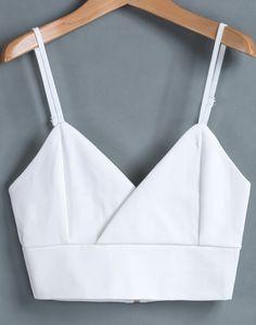 White Spaghetti Strap Zipper Crop Vest - Sheinside.com