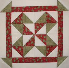 Block 5 - Peppermint Star by stitchin.thyme #triangles with borders