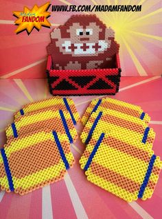 ◄► This is an original MadamFANDOM design. Truly unique! ◄►    Donkey Kong will hold your coasters for you (no guarantee he wont throw them..) with