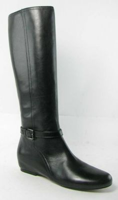 Ellen Tracy Womens Lana Black Leather Boots Shoes Size 10m Leather upper and man-made outsole. Heel Height (Inches): 1/4 Inches. Shaft Height (Inches): 16 1/2 Inches. Shaft Width (Inches): 15 Inches. Closure: Side Zipper.