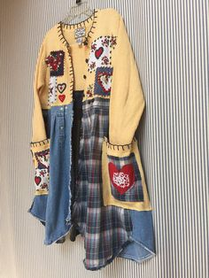 Upcycled Patchwork Sweater Coat Embroidered Romantic Shabby