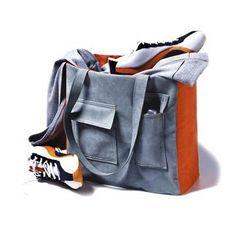 Gray-and-Orange Pocket Bag