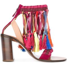 Chloé rainbow tassel sandals ($1,690) ❤ liked on Polyvore featuring shoes, sandals, multicolor, rainbow leather sandals, block heel ankle strap sandals, multi color sandals, chloe sandals and ankle tie sandals