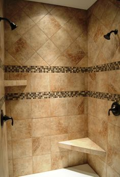 Dual head custom ceramic tile shower with Oil Rubbed Bronze fixtures