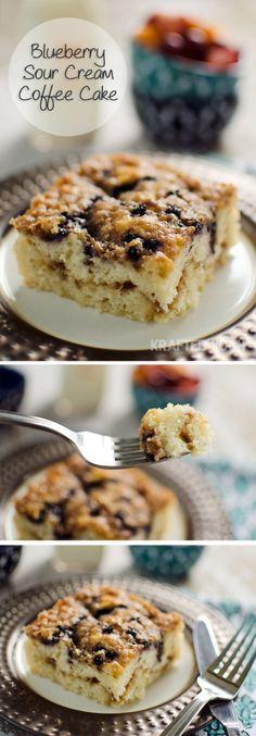 Blueberry Sour Cream Coffee Cake - Krafted Koch