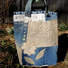 Large handmade denim and linen tote. by HobbsHillQuilts on Etsy https://www.etsy.com/listing/224186477/large-handmade-denim-and-linen-tote