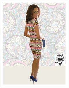 E chega o Vestido comentado da Semana: Estampa Étnica, Todo Colorido e com Super Caimento!