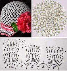 Crochet flower wide brim sun h Crochet Summer Hats, Crochet Beret, Crochet Hat For Women, Crochet Cap, Crochet Shoes, Crochet Motif, Crochet For Kids, Crochet Designs, Crochet Flowers