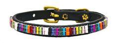 Candy Shop Just Fur Fun Black Leather Dog #Collar