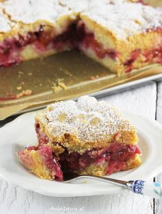 Cake with plums AniaGotuje. Healthy Cake, Polish Recipes, Almond Cakes, Pumpkin Cheesecake, How Sweet Eats, Cookie Recipes, Delicious Desserts, Bakery, Good Food
