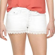 Enjoy the carefree style of these women's denim shorts from LC Lauren Conrad, featuring charming lace hems. In white wash. White Denim Shorts, Lace Shorts, Jean Shorts, Lc Lauren Conrad, Stretch Jeans, My Wardrobe, Lace Trim, My Style, Clothes