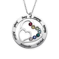 Family Heart Necklace in Sterling Silver with Swarovski Birthstones