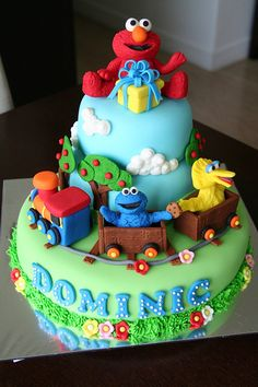 Sesame Street themed cake -<3,  although I don't think I'd have the patience to make this lol.
