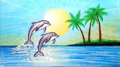 Cartoon Dolphin Drawing Easy Fish Images Photo For Beginners — Krumblagov Dolphin Drawing, Dolphin Painting, Beach Drawing, Dolphin Art, Art Drawings For Kids, Drawing For Kids, Easy Drawings, Cartoon Drawings, Very Easy Drawing