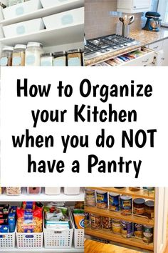Kitchen Storage Solutions For a No Pantry Kitchen - kitchen organization is HARD without a pantry - here are 37 clever storage ideas to help you organize your small kitchen that does NOT have a separate pantry closet or cabinet Deep Pantry Organization, Kitchen Organization Pantry, Pantry Storage, Pantry Closet, Diy Storage, Organization Ideas, Organizing Tips, Small House Storage Ideas, Organized Kitchen