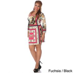 White Mark Plus Size Mix Print 'Florence' Plus Size Dress