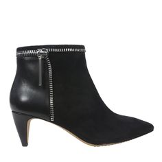 The zipper adornment adds a kick to these #FrenchConnection booties