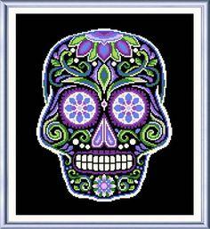 Sugar Skull Black cross stitch pattern designed by Ursula Michael.