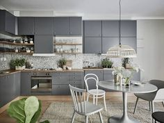 A calm green, grey and white Swedish space