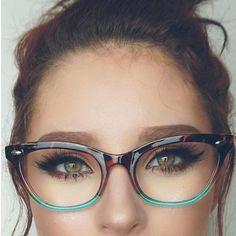 tortoiseshell and turquoise #eyemakeupforglasses