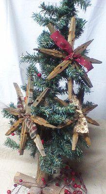 Primitive Vintage 3 Homespun OLD Clothes PIN Snowflakes Christmas Country Decor   eBay