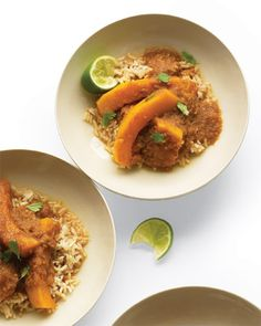 Butternut Squash Curry: served over brown rice, which is heartier and more flavorful than the conventional white variety.