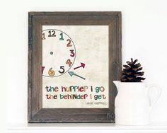 Accessorizing for Alice & Wonderland themed nursery - Alice in Wonderland Quote - Hurrier - Digital Art Print Poster - Funny Multicolour Beige Rustic Time Life