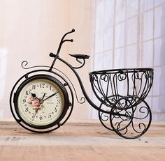 vintage bicycle bike model clock double sided home office table desk clock