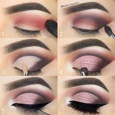 """#stepbystep    @motivescosmetics Eyeshadows in Winter Nights on the crease, Vino on the outer V,…"""