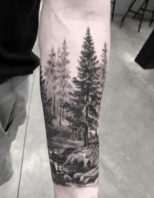 Tatoo, mountain sleeve tattoo, forrest tattoo, tattoo arbre, tattoo a Mountain Sleeve Tattoo, Forest Tattoo Sleeve, Black Sleeve Tattoo, Nature Tattoo Sleeve, Full Sleeve Tattoos, Back Tattoos, Forearm Tattoos, Body Art Tattoos, Tattoo Nature