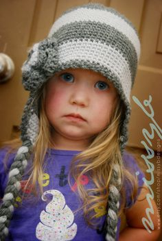 Crochet Hat Pattern - Striped Flap Hat - EASY to make -  preschooler, big kid size - PDF pattern - Fun Photography Prop. $4.50, via Etsy.