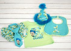 Boys Birthday Party Hat Diaper Cover and Tie by freshsqueezedbaby. Love this! :)