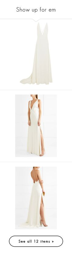 """""""Show up for em"""" by suellenborinhoran ❤ liked on Polyvore featuring dresses, gowns, long dresses, vestidos, white, white beach dresses, white gown, white silk gown, beach bridal gowns and bride gowns"""