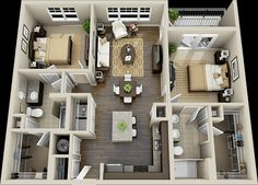 bedroom apartment floor plans on Apartments with two . Sims 4 House Plans, House Layout Plans, Small House Plans, House Layouts, House Floor Plans, Sims House Design, Small House Design, Model House Plan, Apartment Layout