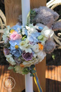 Baptism Candle, Violet, Floral Wreath, Wreaths, Candles, Design, Home Decor, Floral Crown, Decoration Home